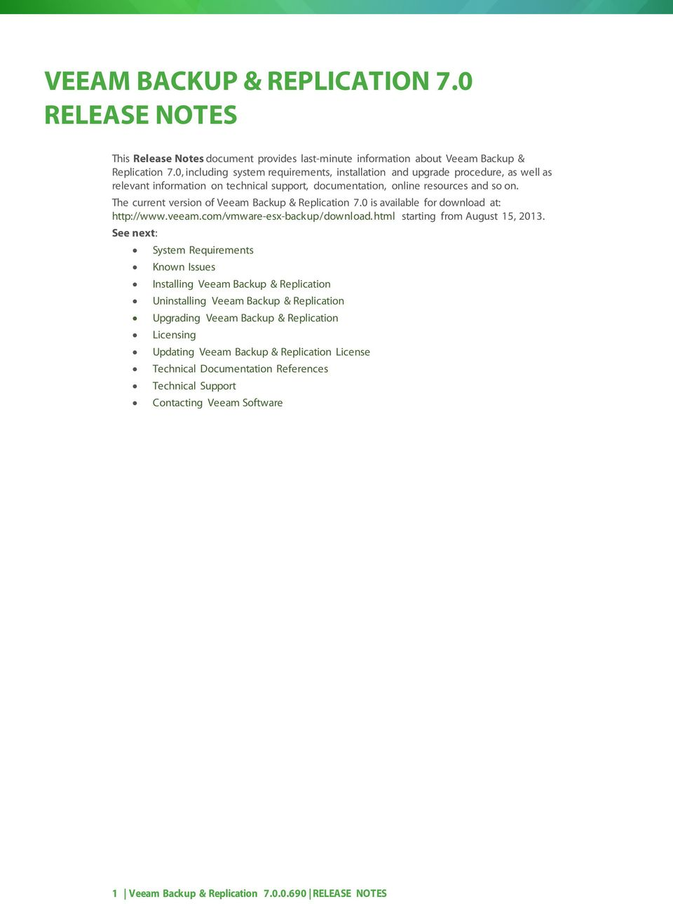 VEEAM BACKUP & REPLICATION 7 0 RELEASE NOTES - PDF