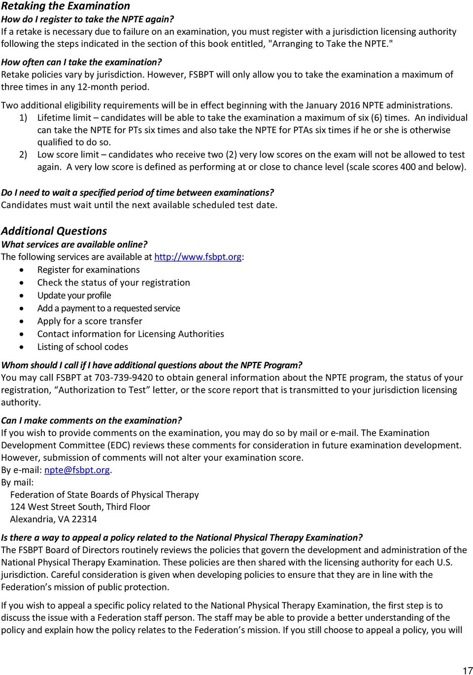 NPTE Candidate Handbook For the National Physical Therapy