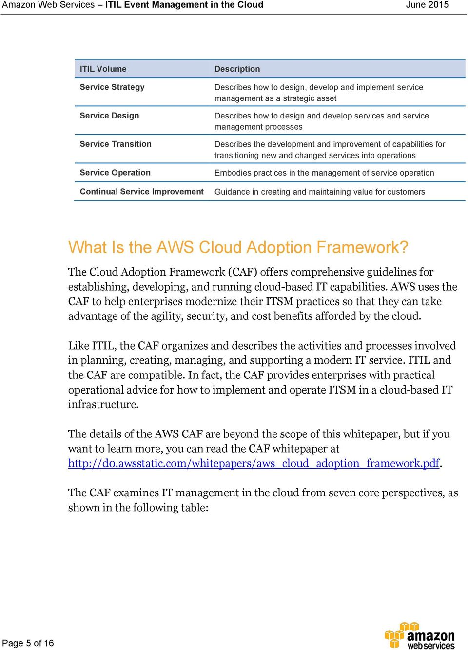 operations Embodies practices in the management of service operation Guidance in creating and maintaining value for customers What Is the AWS Cloud Adoption Framework?
