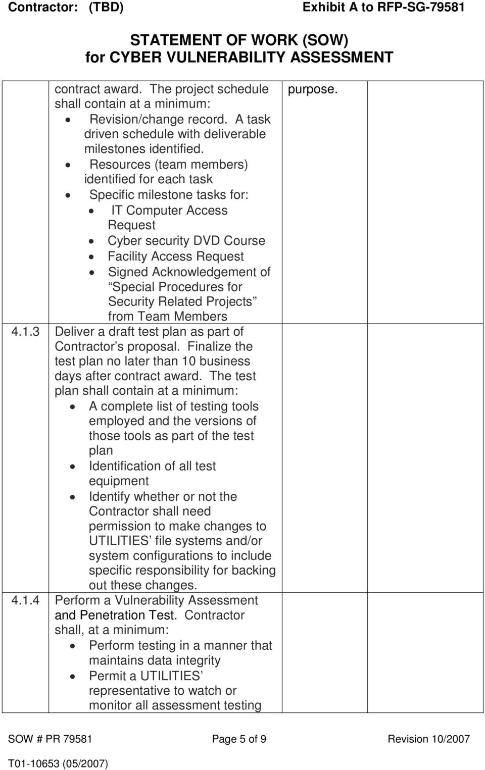 statement of work sow for cyber vulnerability assessment pdf