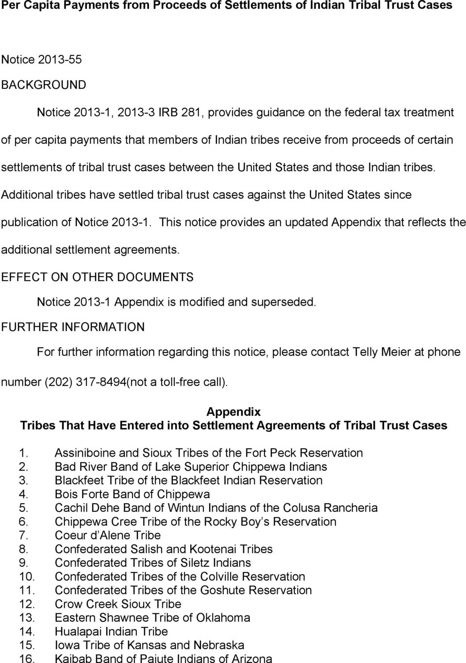 Tribal Trust Fund Settlement Payments Pdf