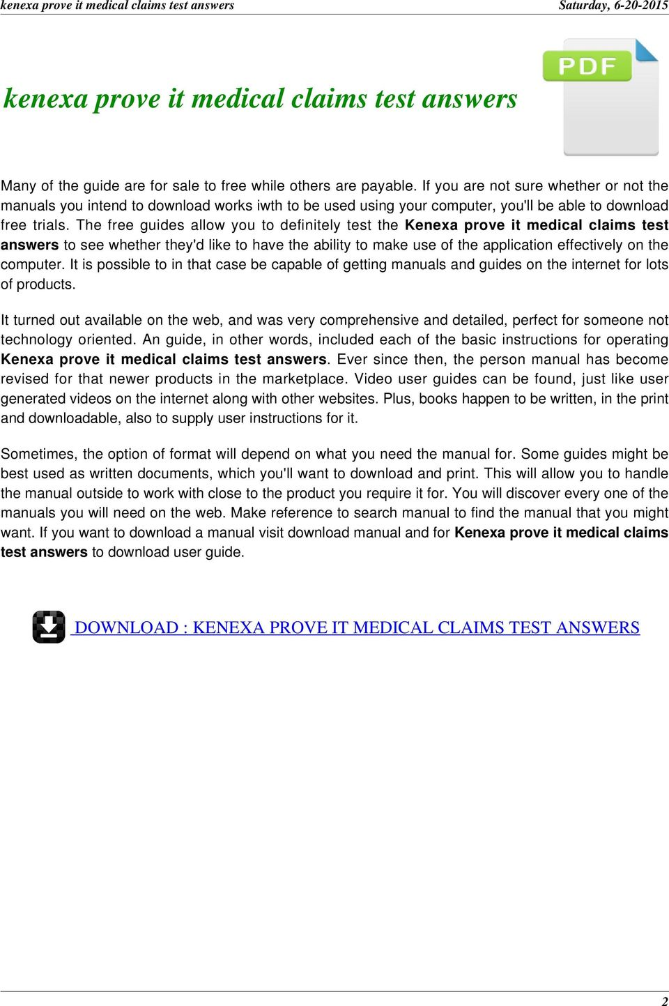 The free guides allow you to definitely test the Kenexa prove it medical  claims test answers