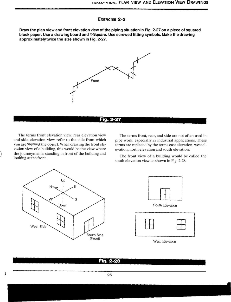 Three View Plan And Elevation Drawings Pdf Piping Diagram Symbols Union The Terms Front Rear Side Refer To