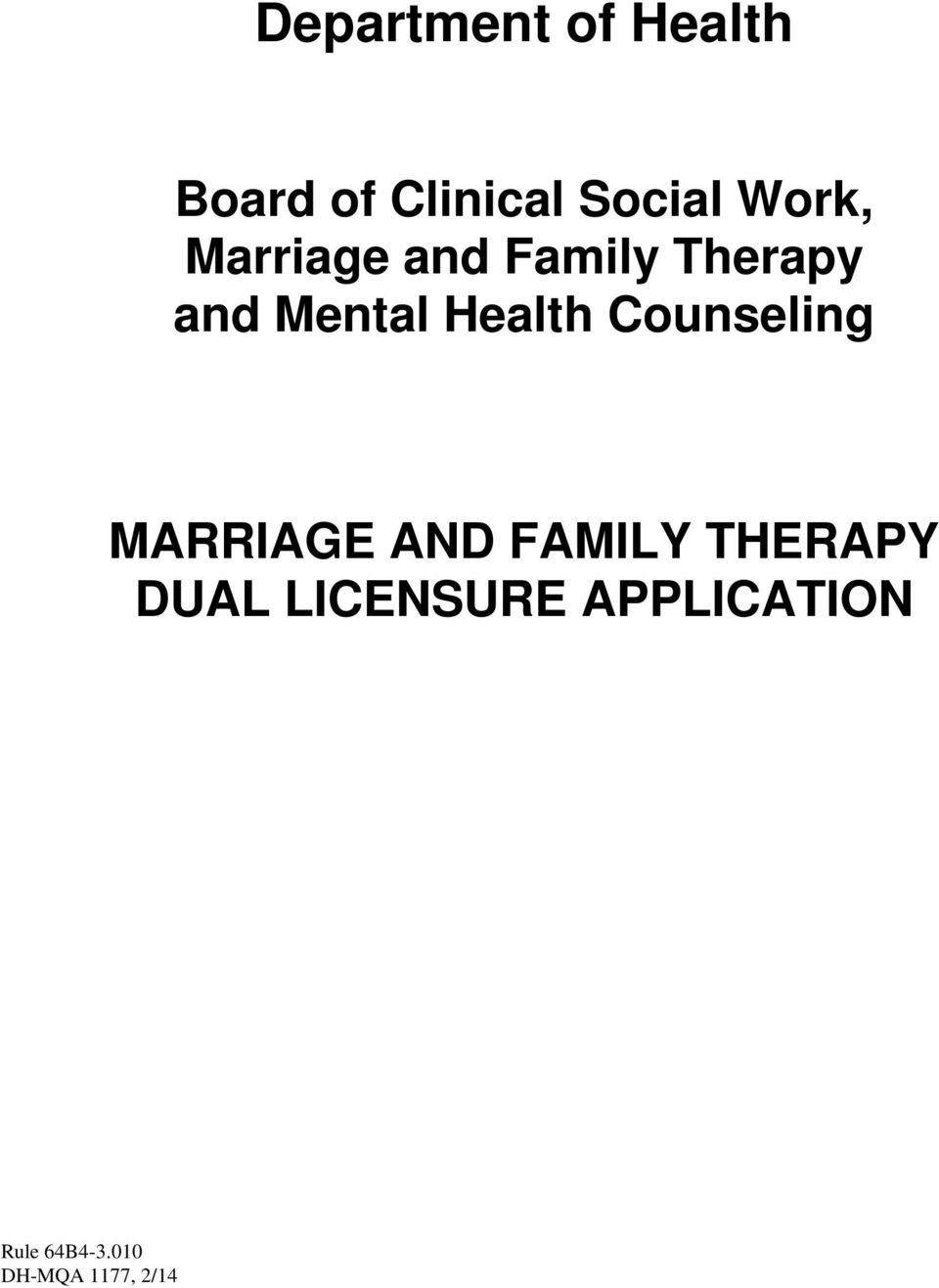 and Mental Health Counseling MARRIAGE