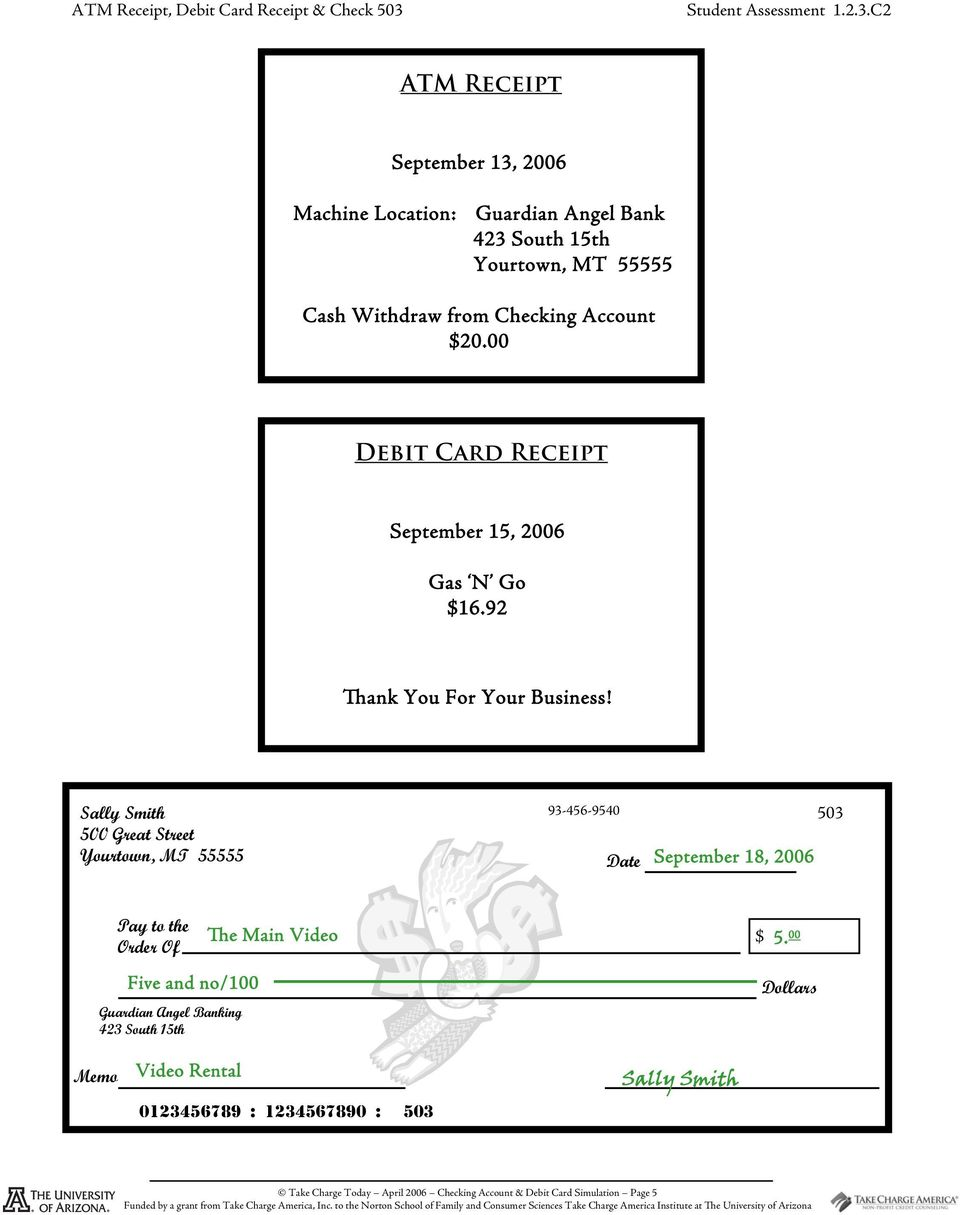 Checking Account and Debit Card Simulation - PDF