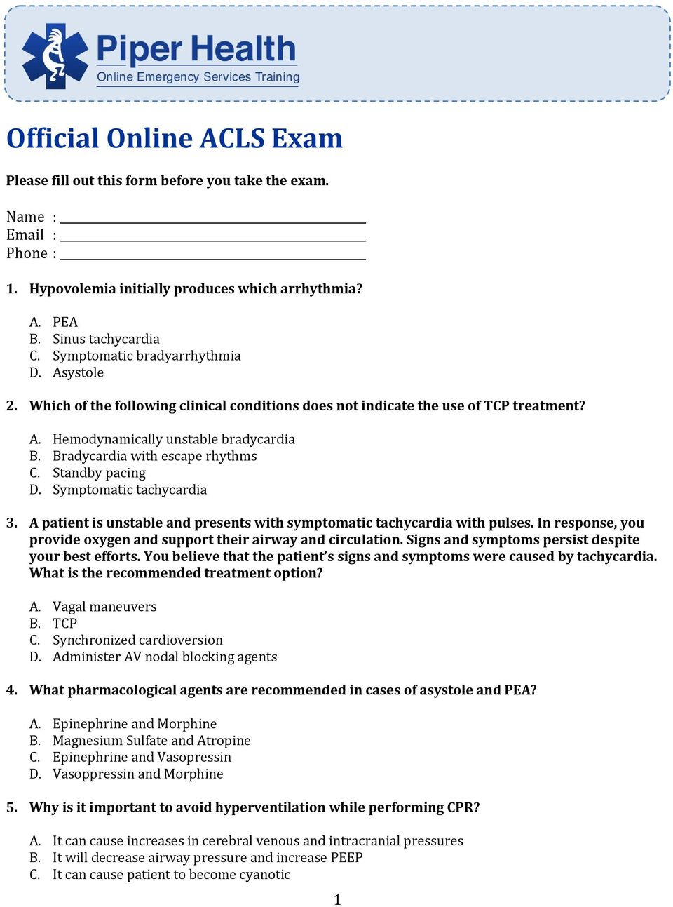 official online acls exam pdf rh docplayer net ACLS Study Guide 2017 2016 ACLS Study Guide