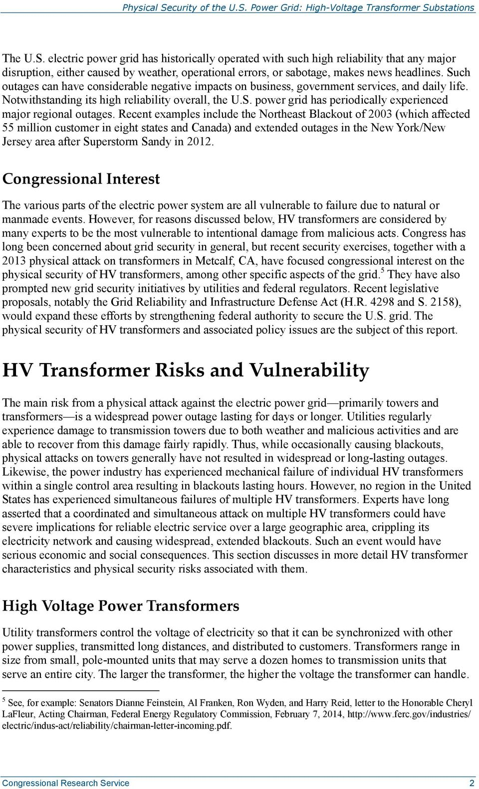 Physical Security of the U S  Power Grid: High-Voltage