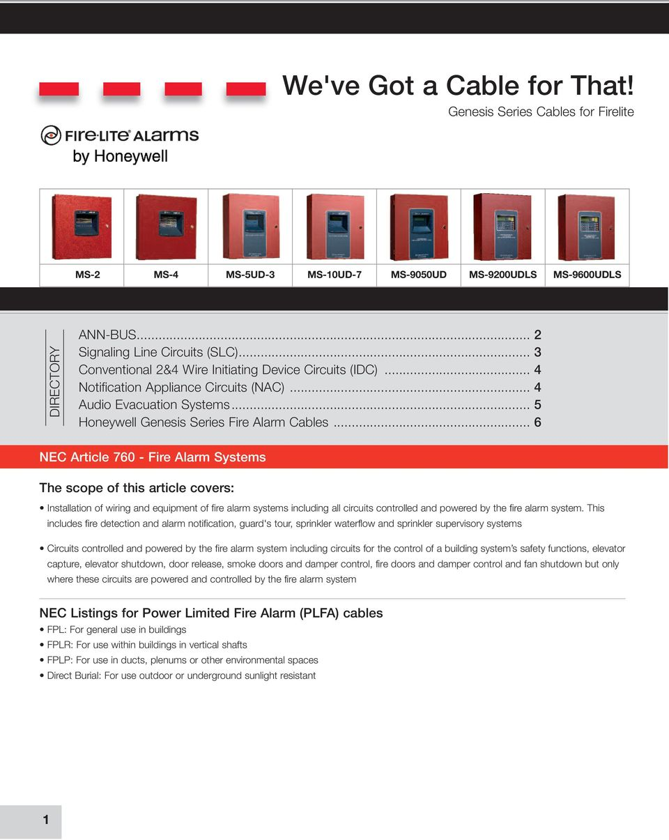 Fire Wire  Genesis Series Cables for Fire-Lite Alarms - PDF