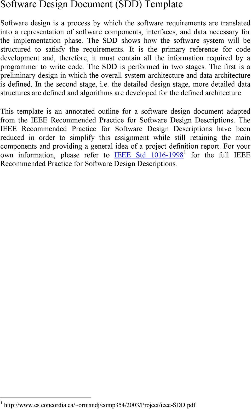 Software Design Document SDD Template PDF - Software design document template ieee
