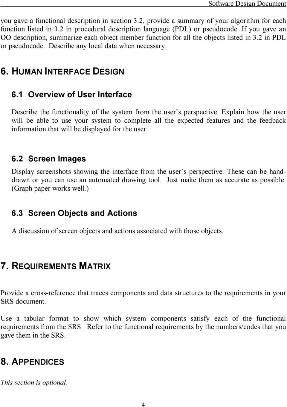 Software Design Document Sdd Template Pdf Free Download