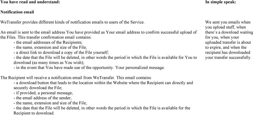 WeTransfer Terms of Service - PDF
