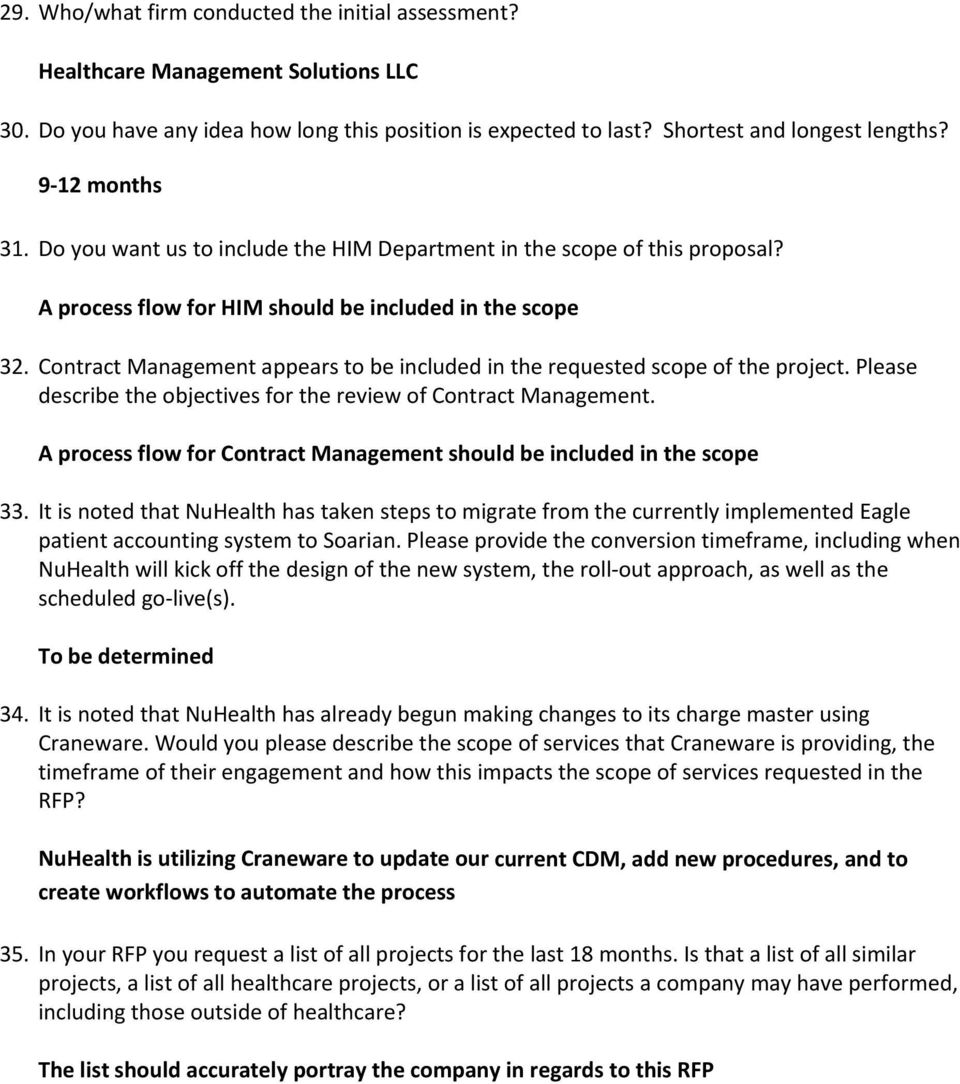 REQUEST FOR PROPOSALS  Revenue Cycle Consultant  QUESTIONS and