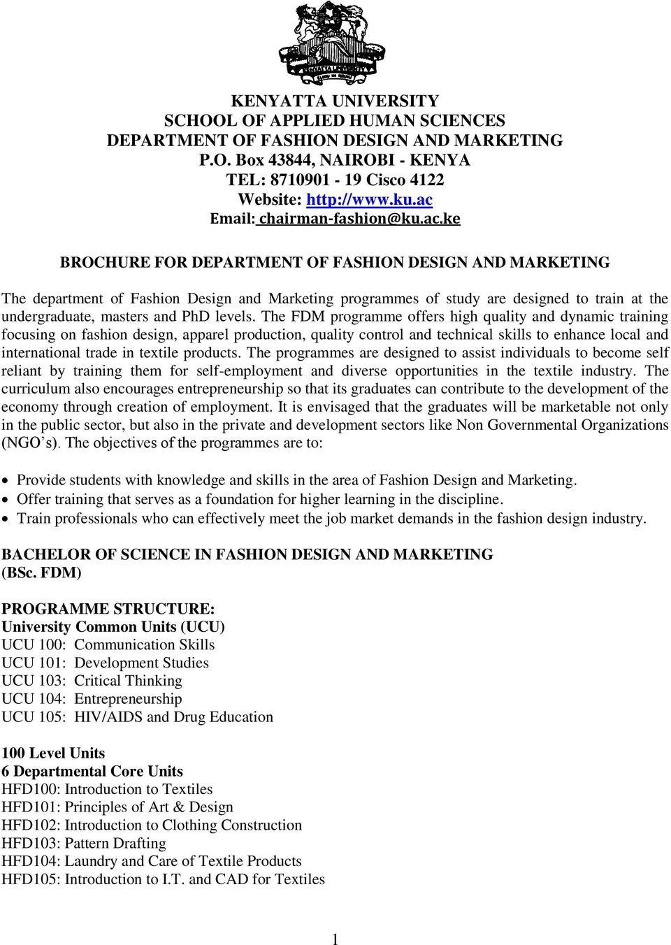 Brochure For Department Of Fashion Design And Marketing Pdf Free Download
