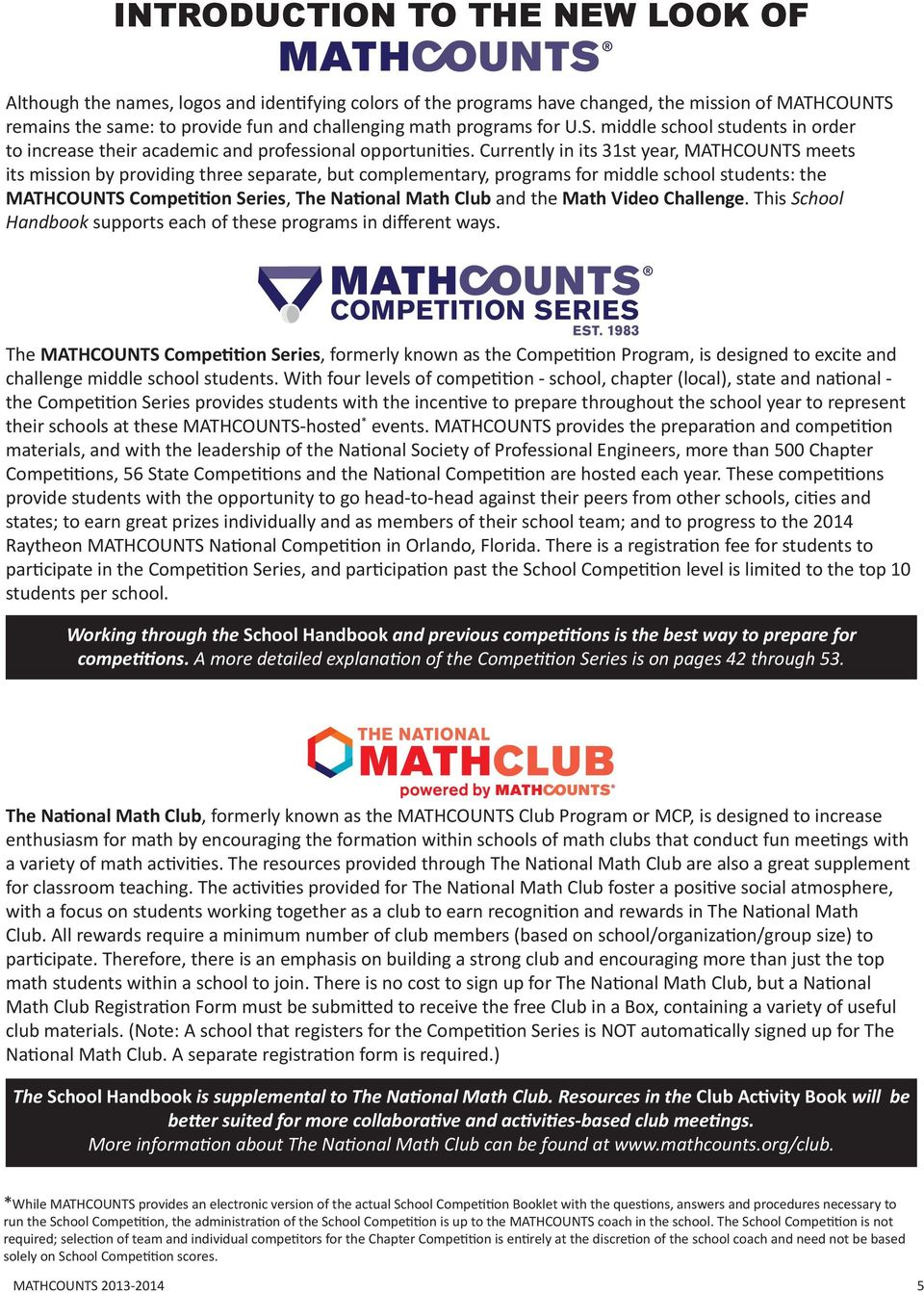 School handbook contains 300 creative math problems that meet nctm currently in its 31st year mathcounts meets its mission by providing three separate but fandeluxe Choice Image