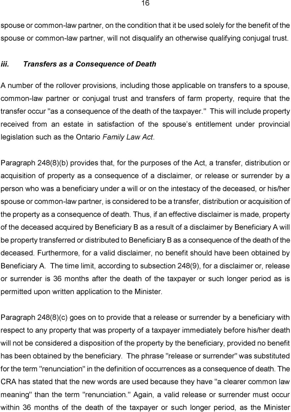taxation on death: deemed dispositions and post mortem planning