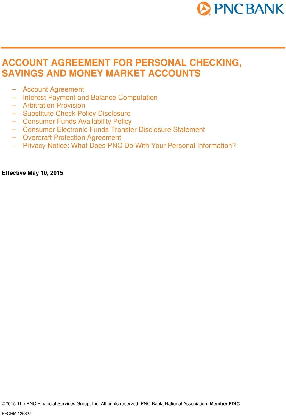 ACCOUNT AGREEMENT FOR PERSONAL CHECKING, SAVINGS AND MONEY MARKET