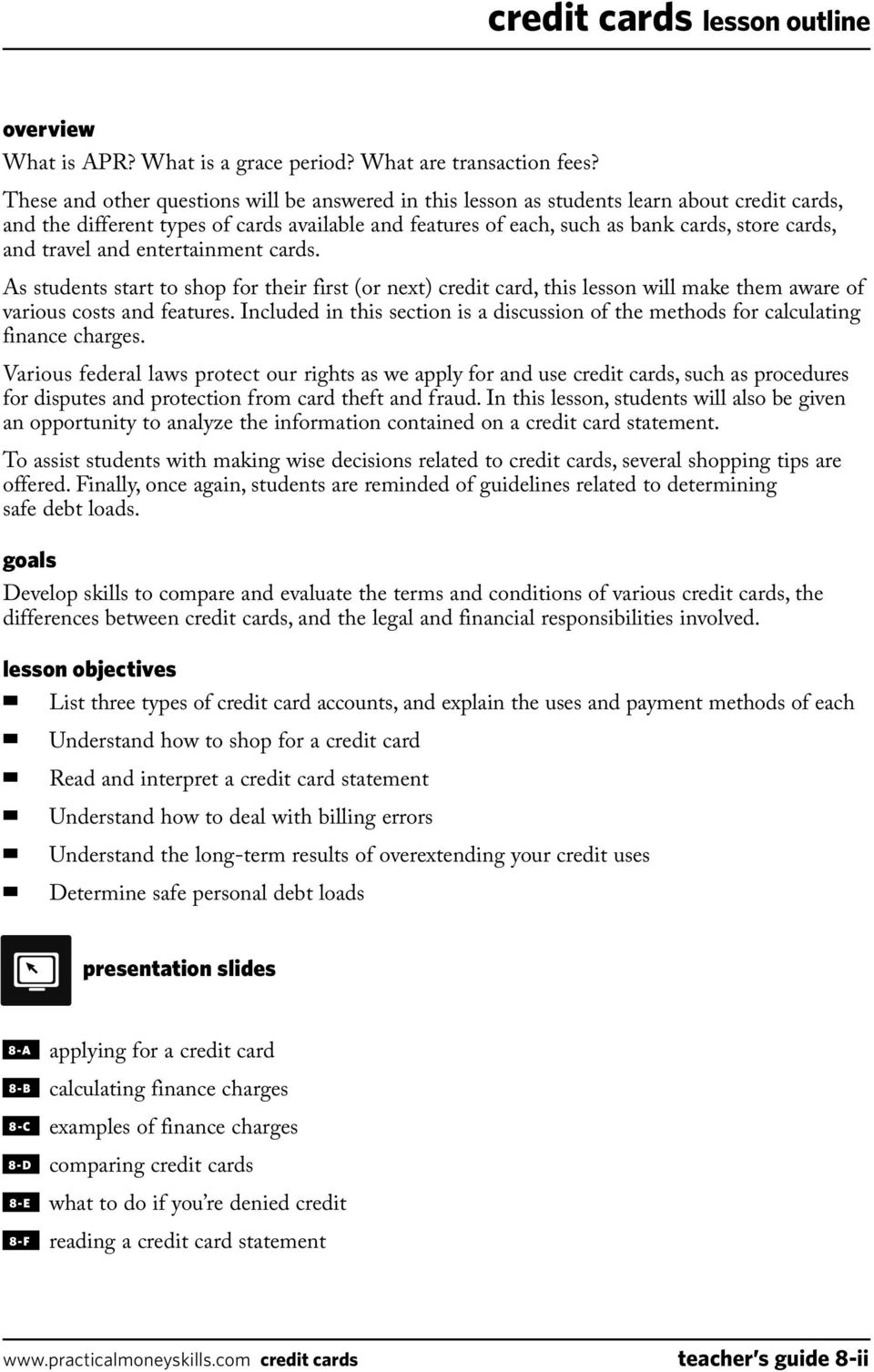 Teacher S Guide Lesson Eight Credit Cards 04 09 Pdf Free Download