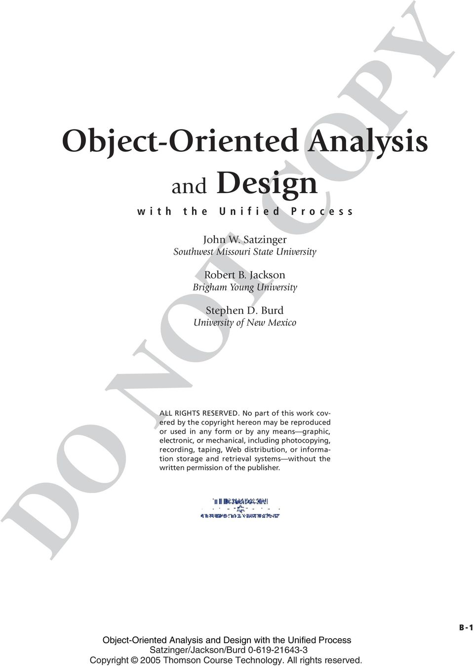 Object Oriented Analysis With The Unified Process John W Satzinger Southwest Missouri State University Robert B Jackson Brigham Young University Pdf Free Download