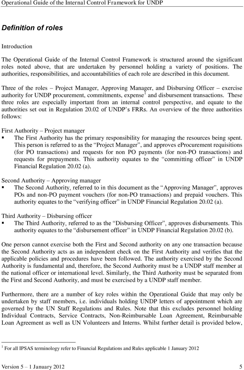 Operational guide of the internal control framework for undp pdf three of the roles project manager approving manager and disbursing officer exercise authority for spiritdancerdesigns Image collections