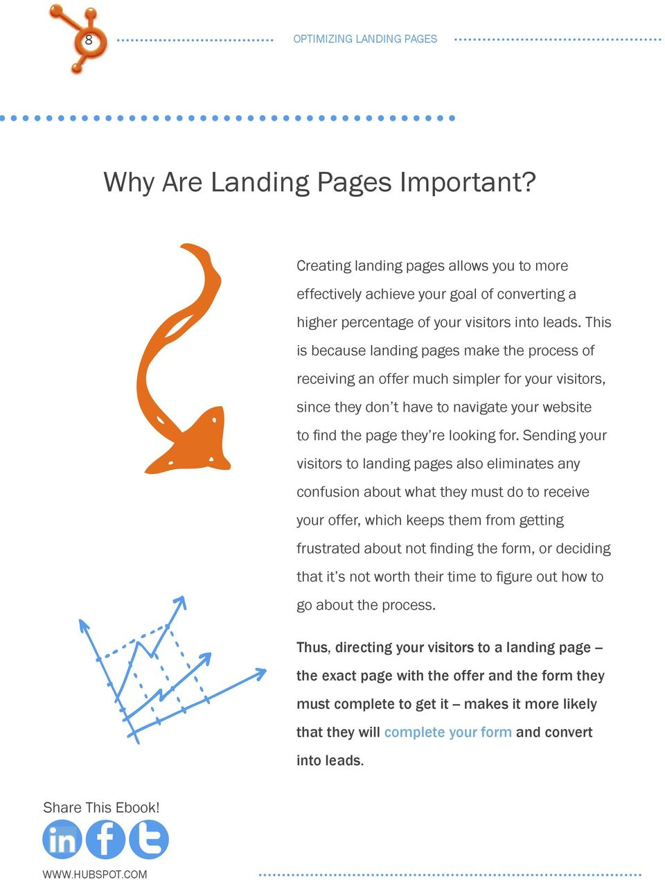 Sending your visitors to landing pages also eliminates any confusion about what they must do to receive your offer, which keeps them from getting frustrated about not finding the form, or deciding