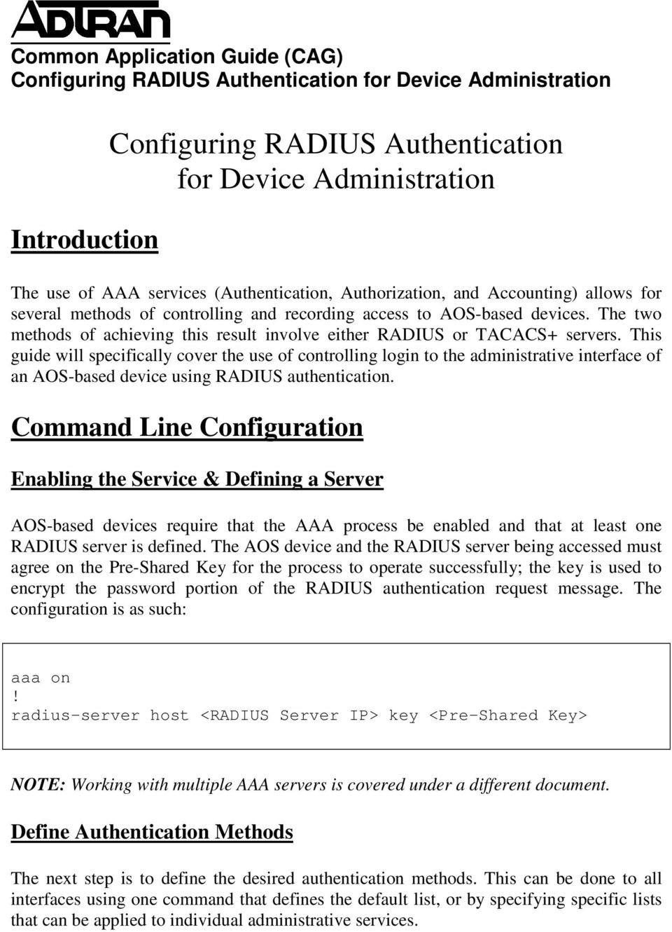 Configuring RADIUS Authentication for Device Administration