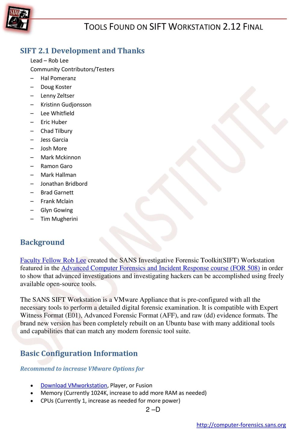TOOLS FOUND ON SIFT WORKSTATION 2 12 FINAL - PDF