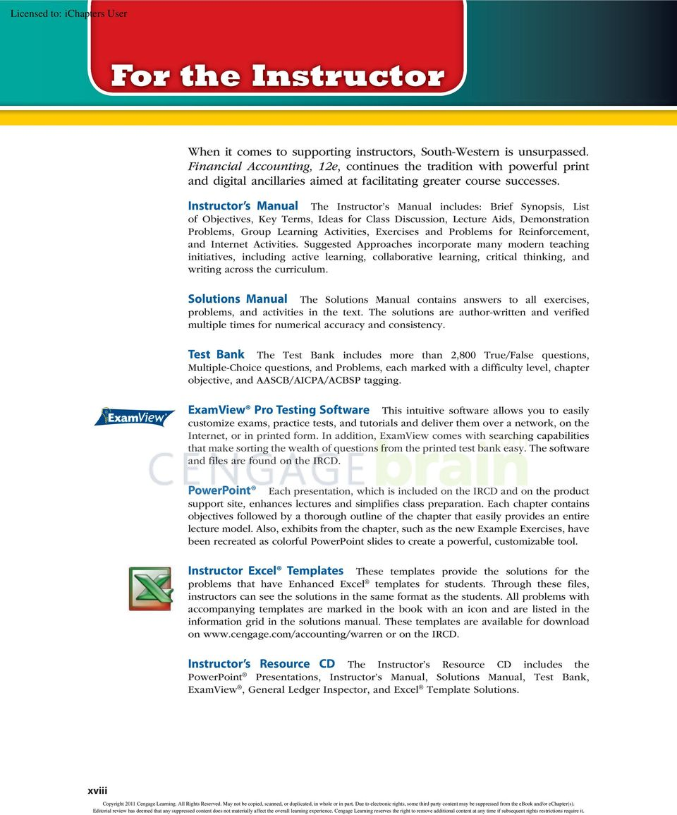 Instructor s Manual The Instructor s Manual includes: Brief Synopsis, List  of Objectives,