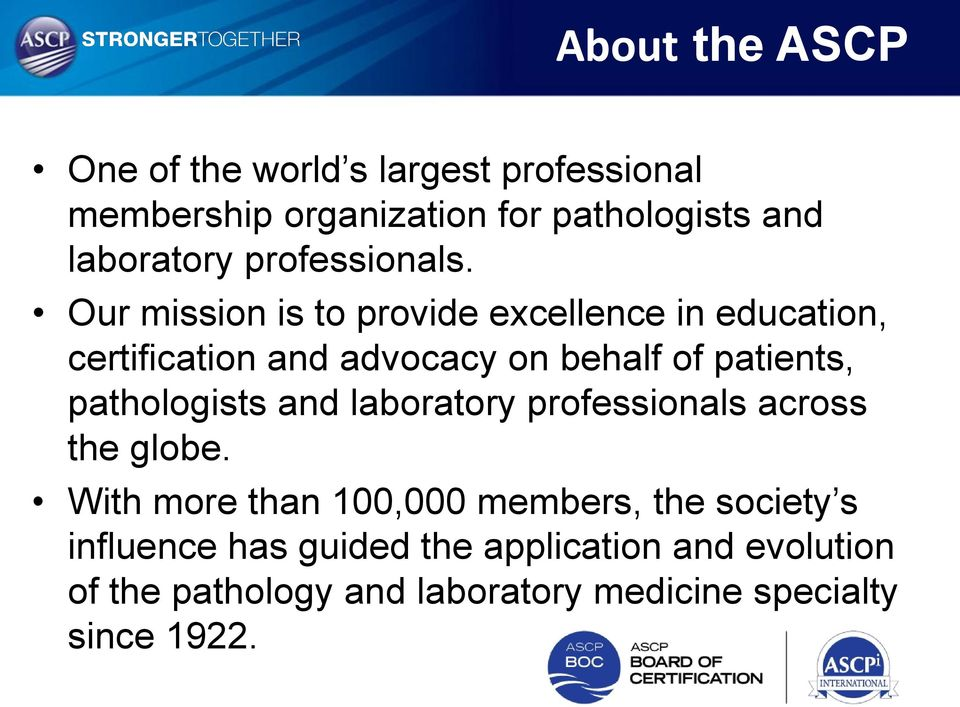 American Society for Clinical Pathology International Certification ...