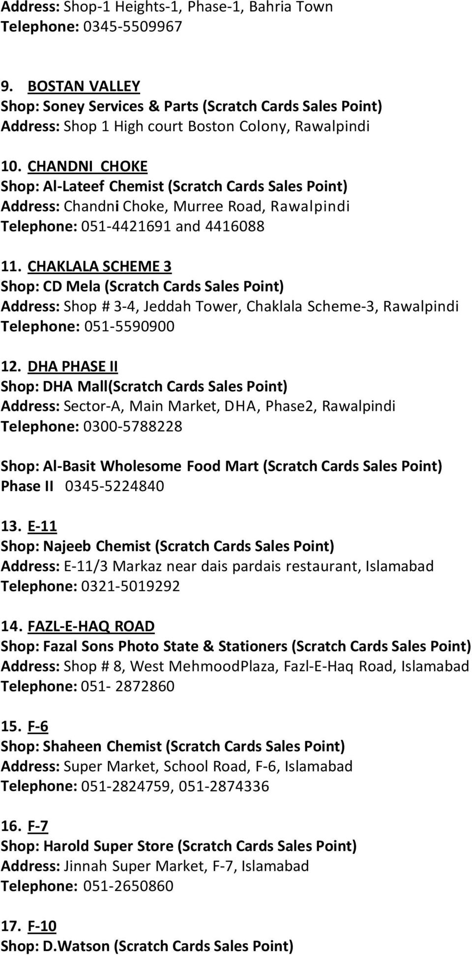 ISLAMABAD/ RAWALPINDI DEALERS AND SCRATCH CARDS SALES POINTS - PDF