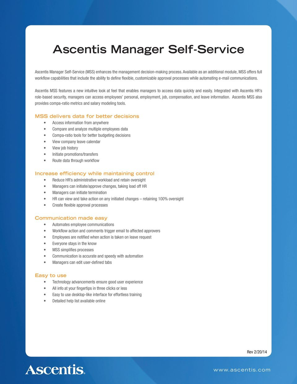 Ascentis HR  The easy-to-use HRIS  Comprehensive benefits management