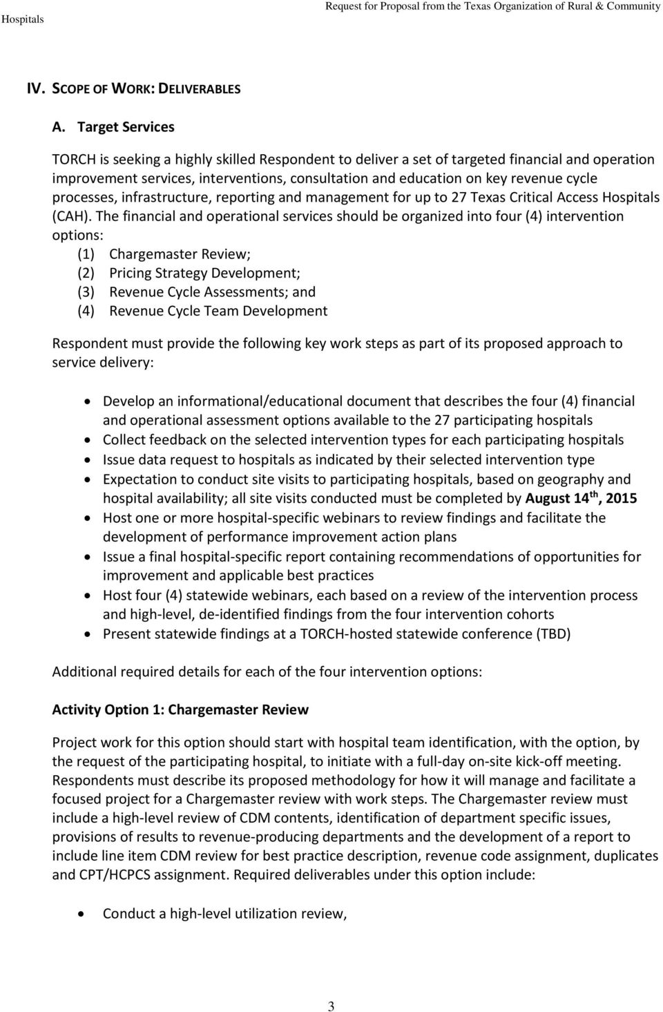 REQUEST FOR PROPOSAL (RFP) CRITICAL ACCESS HOSPITAL