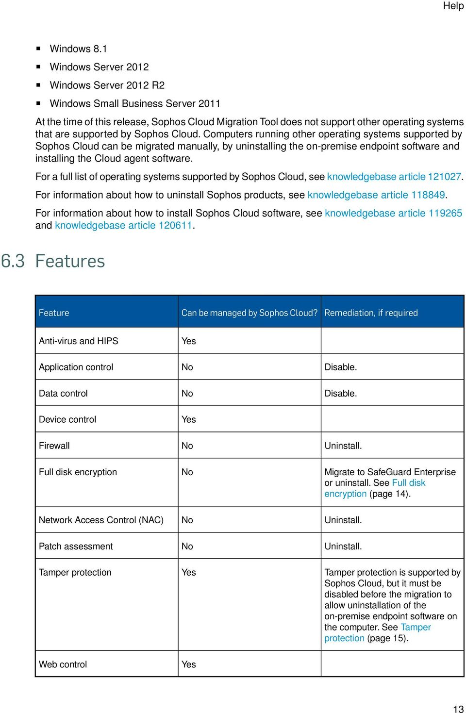 Sophos Cloud. Computers running other operating systems supported by Sophos Cloud can be migrated manually, by uninstalling the on-premise endpoint software and installing the Cloud agent software.