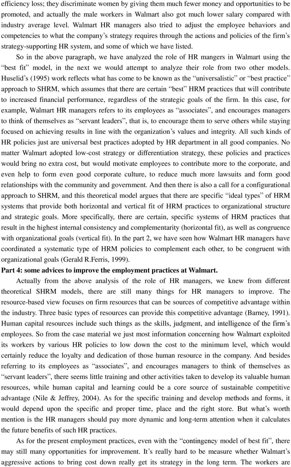 Case study of strategic human resource management in Walmart