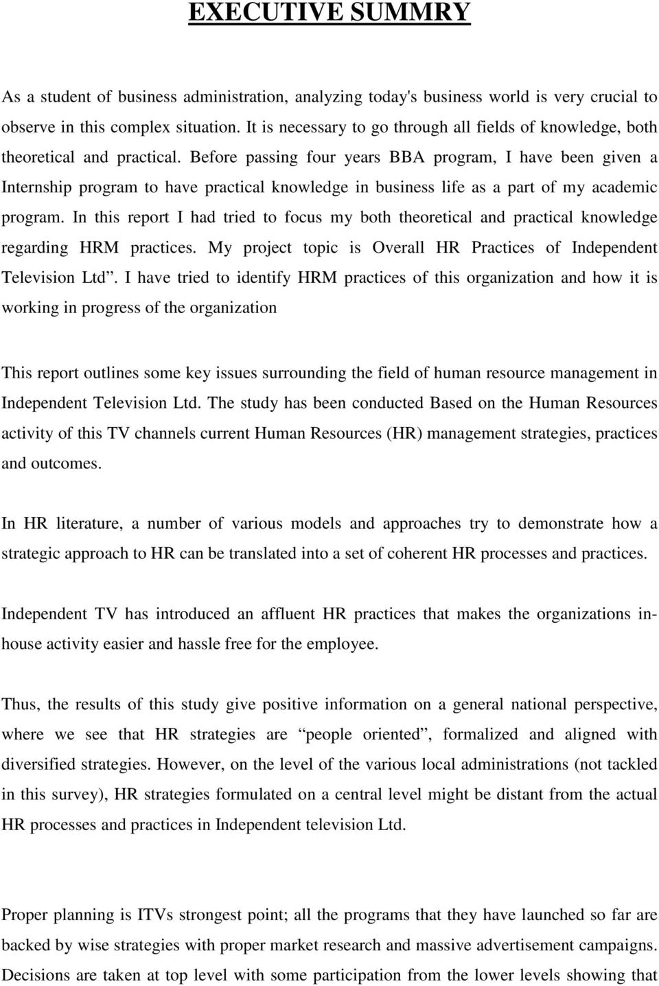 Internship report  Overall HR Practices of  Independent Television