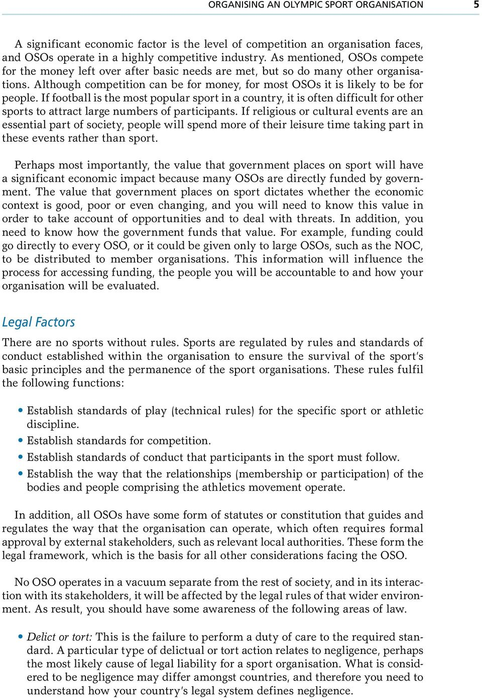 legal factors in sport