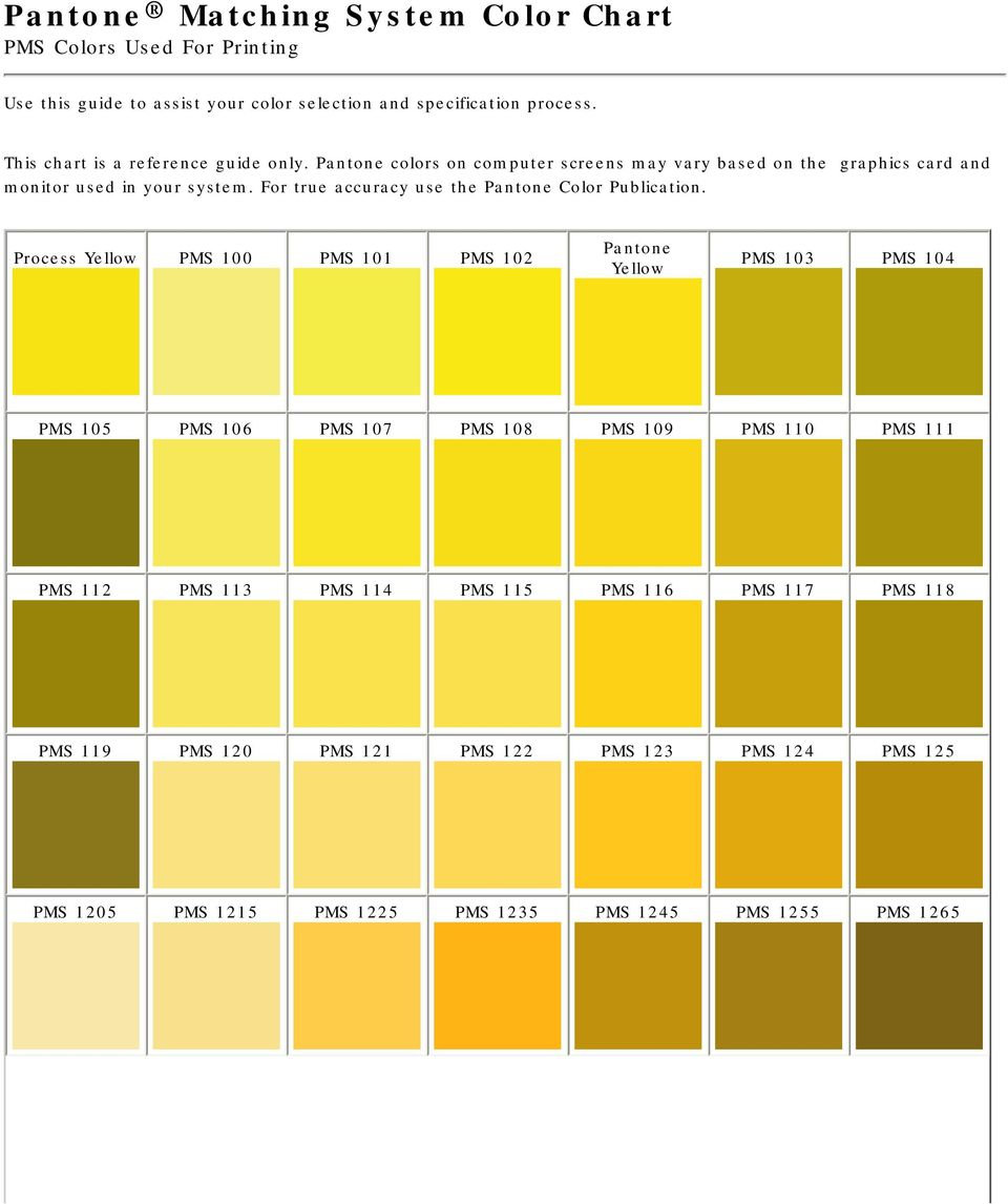 For True Accuracy Use The Pantone Color Publication