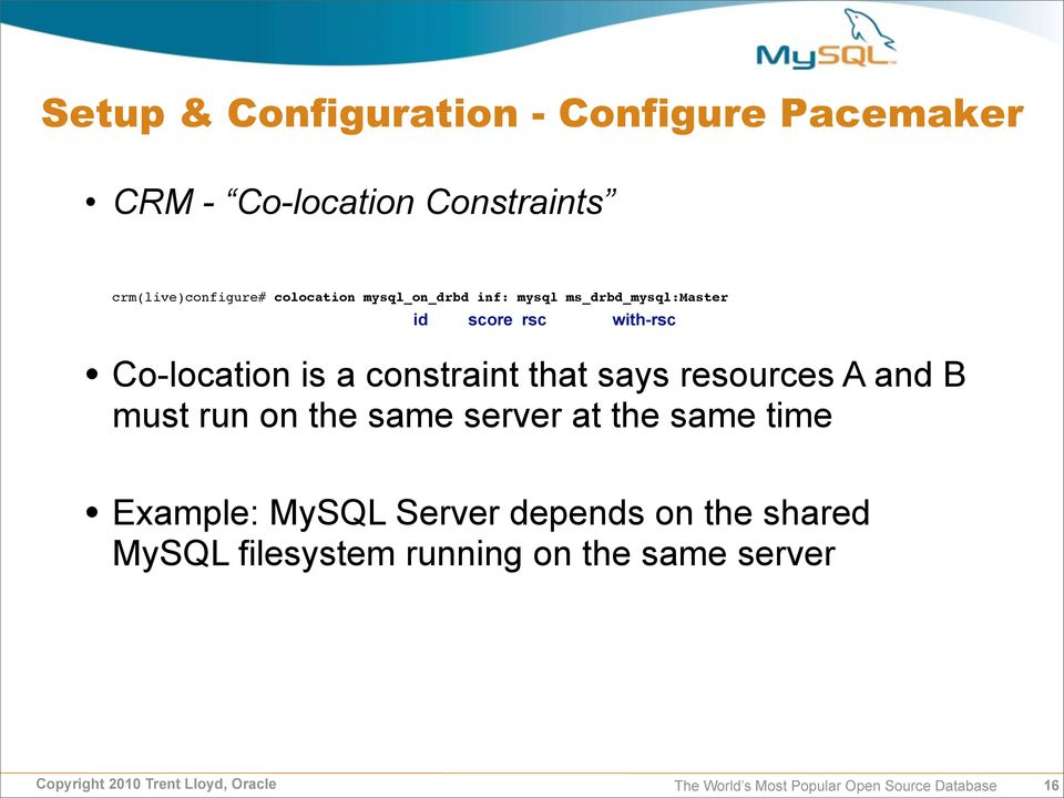 Overview: Clustering MySQL with DRBD & Pacemaker - PDF