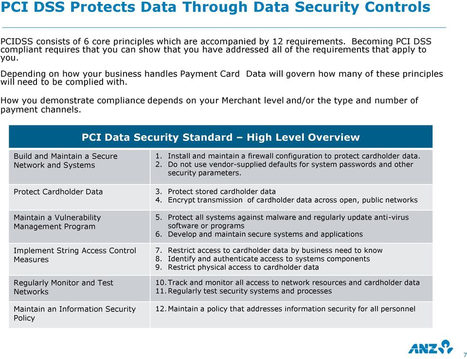 Depending on how your business handles Payment Card Data will govern how many of these principles will need to be complied with.