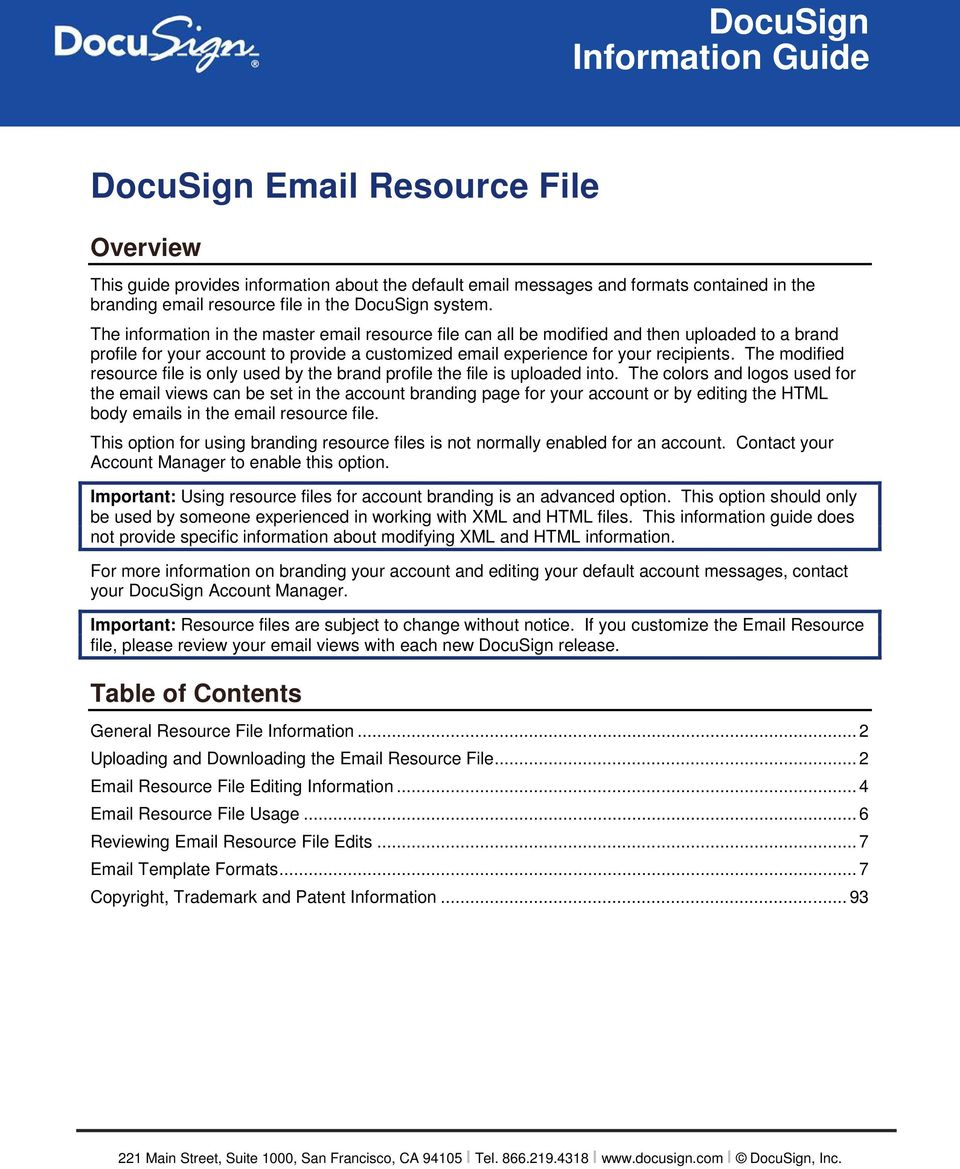 DocuSign Information Guide. DocuSign Resource File. Overview. Table ...