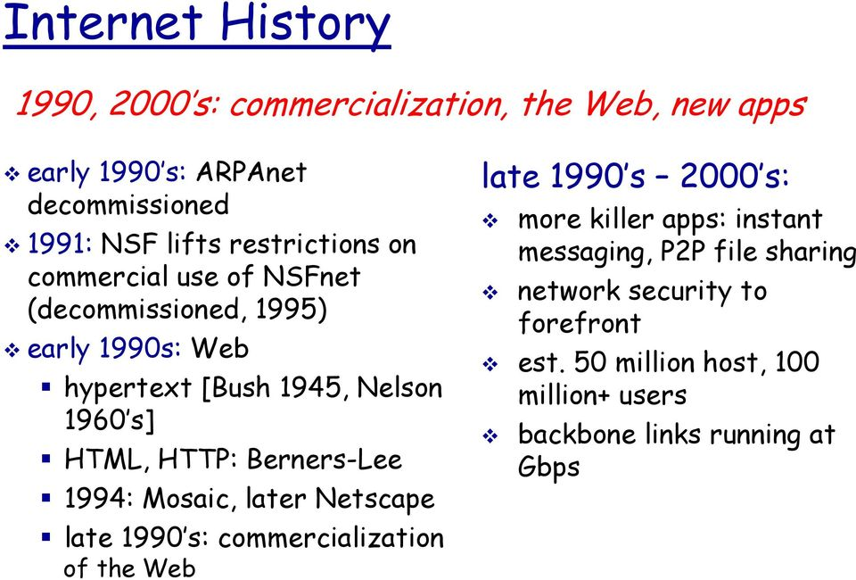 HTTP: Berners-Lee 1994: Mosaic, later Netscape late 1990 s: commercialization of the Web late 1990 s 2000 s: more killer apps: