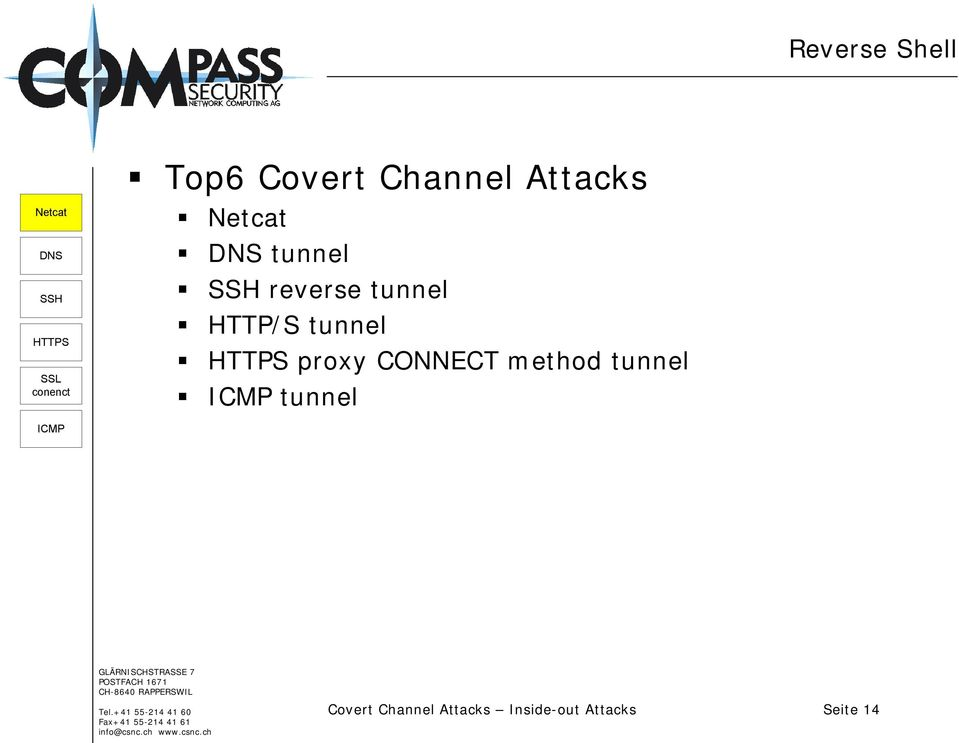 Inside-Out Attacks  Covert Channel Attacks Inside-out Attacks Seite