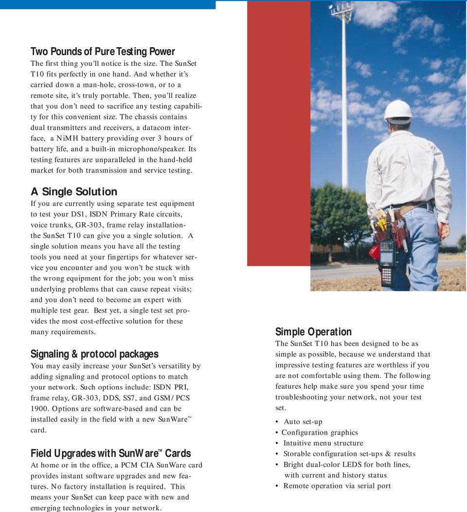 SunSet T10 The Complete T1 Testing Solution - PDF