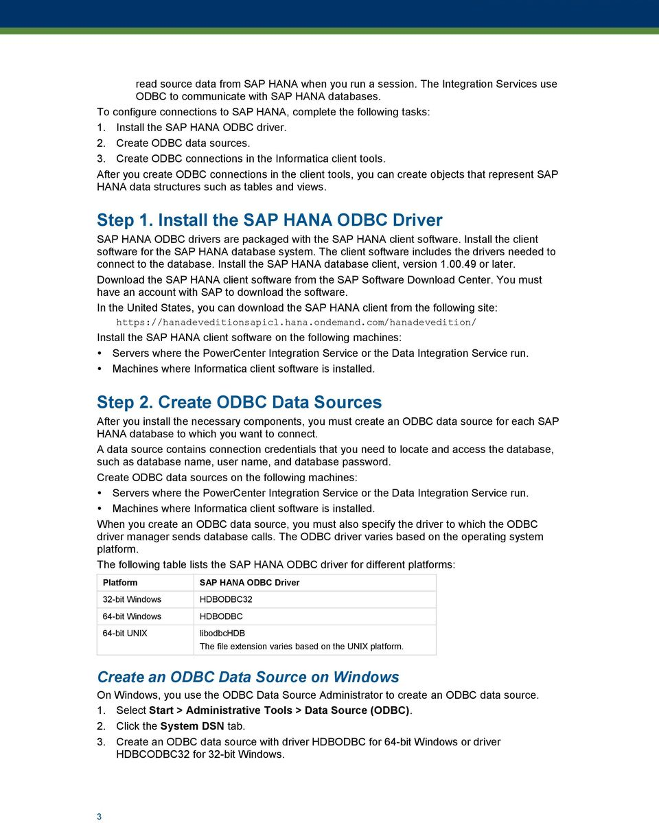 Configure an ODBC Connection to SAP HANA - PDF