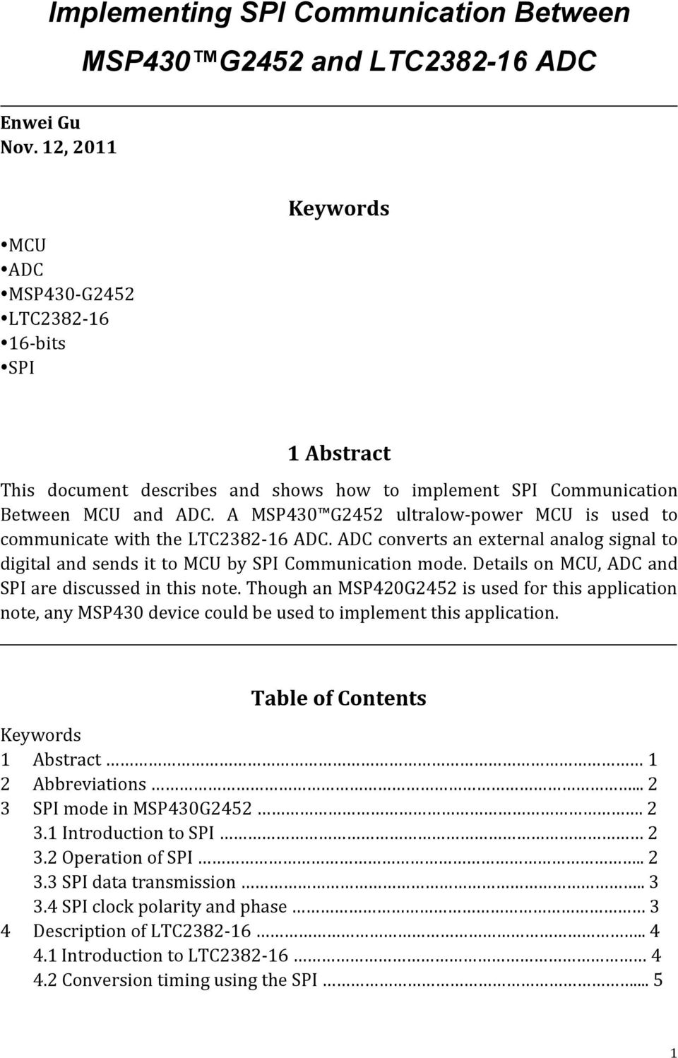 Implementing SPI Communication Between MSP430 G2452 and LTC ADC - PDF