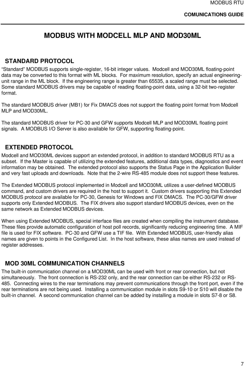 MODBUS RTU  Communications Guide  for use with MODCELL, MOD