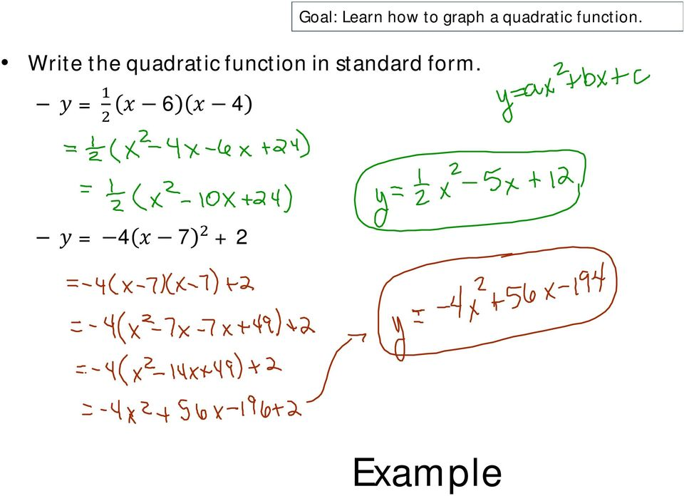 Write the quadratic function in