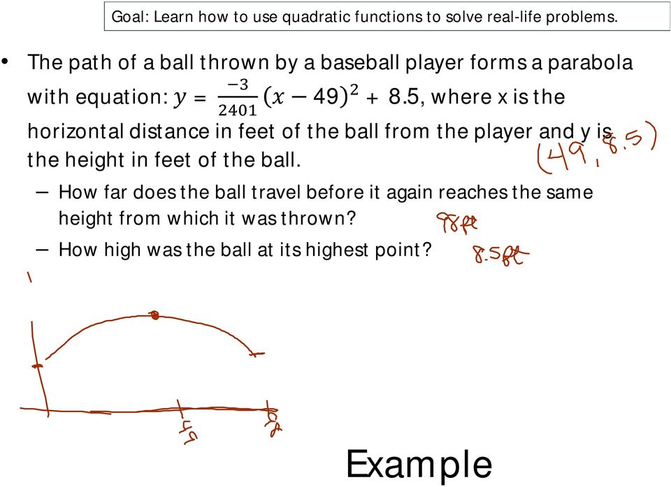 5, where x is the horizontal distance in feet of the ball from the player and y is the height in feet of