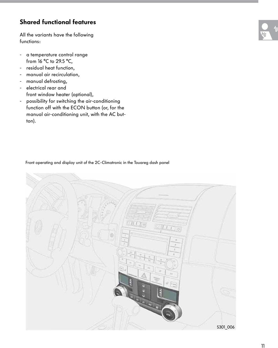 Touareg Heating Air Conditioning System Pdf Truck Heater Wiring Diagram Besides Garage Door Opener Optional Possibility For Switching The Function Off With