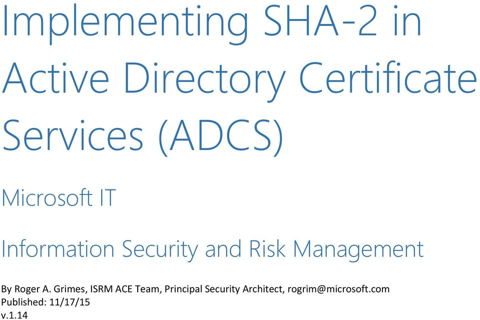 Implementing Sha 2 In Active Directory Certificate Services Adcs Pdf