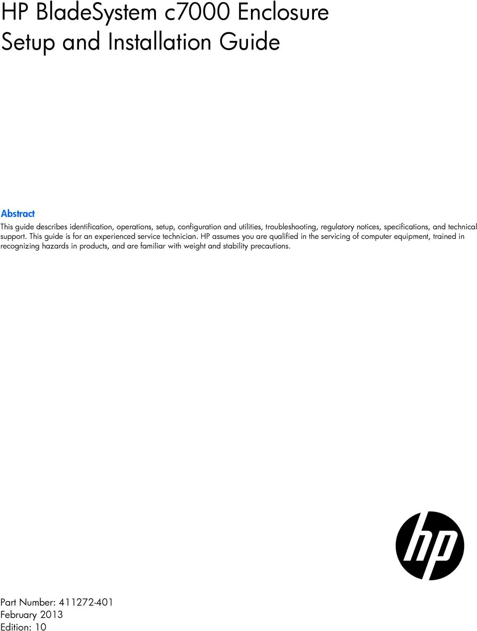 HP BladeSystem c7000 Enclosure Setup and Installation Guide